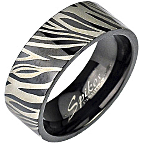 SPIKES 316L Stainless Steel Black IP Zebra Print WOMEN'S Ring