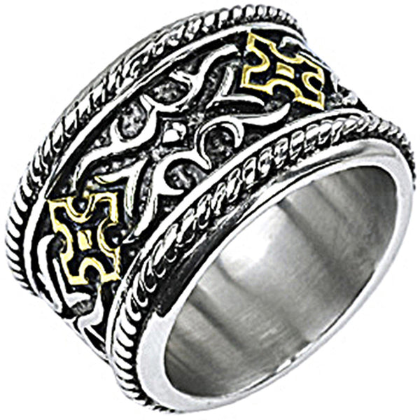 SPIKES 316L Stainless Steel Gold IP Cross Knight Armor Wide Ring