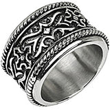 SPIKES 316L Stainless Steel Knight Armor Wide Ring