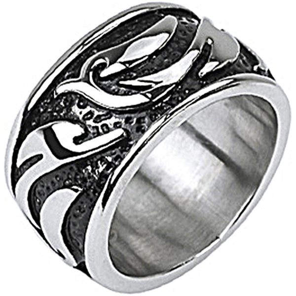 SPIKES 316L Stainless Steel Tribal Wave Armor Wide Ring
