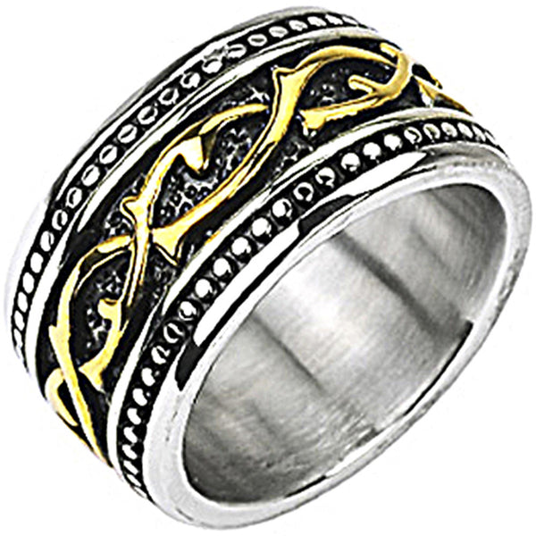 SPIKES 316L Stainless Steel Gold IP Tribal Vine Link Armor Wide Ring