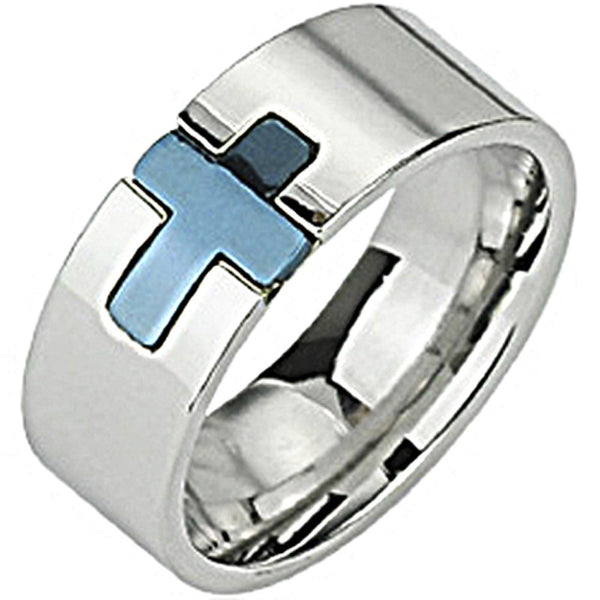 SPIKES 316L Stainless Steel Blue IP Cross MEN'S Ring