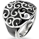 SPIKES 316L Stainless Steel Black Onyx Cast Multi Vine Ring