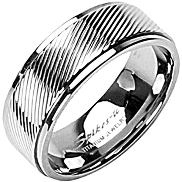 SPIKES Titanium Stripe Down WOMEN'S Ring