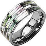 SPIKES Titanium Triple Abalone WOMEN'S Ring