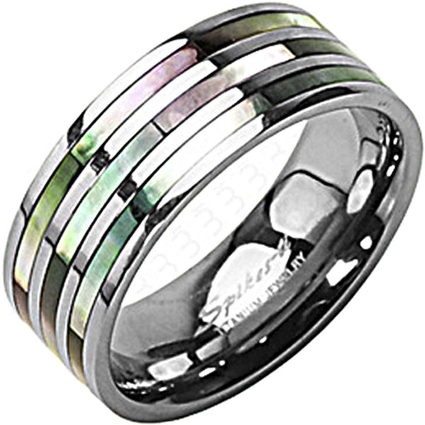 SPIKES Titanium Triple Abalone MEN'S Ring