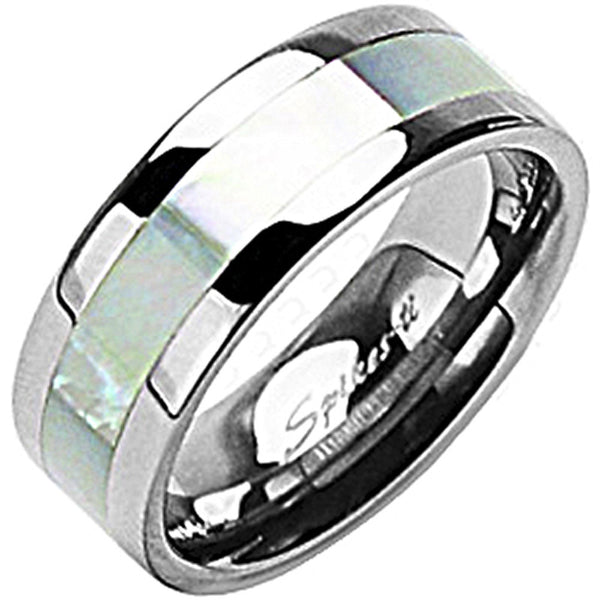 SPIKES Titanium Wide Band Mother of Pearl Inlay WOMEN'S Ring