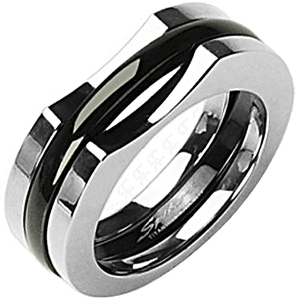 SPIKES Titanium It Takes Two Black IP Ring