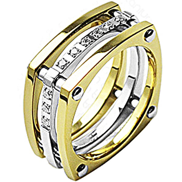 SPIKES Titanium Square Root IP Gold CZ Ring