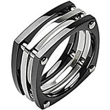 SPIKES Titanium Square Root IP Black Bolt Ring