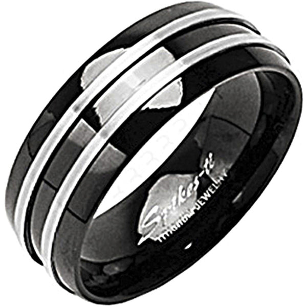 SPIKES Titanium Two Stripe Onyx Colored WOMEN'S Ring