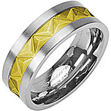 SPIKES Titanium Mayan Inspired Gold Plated MEN'S Ring