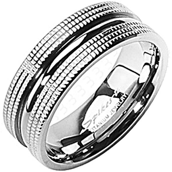 SPIKES Titanium Dual Textured MEN'S Ring