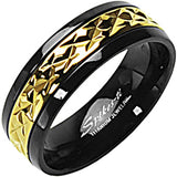 SPIKES Titanium Black and Gold MEN'S Ring