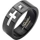 SPIKES 316L Stainless Steel Black IP Mark of the Cross MENS Ring