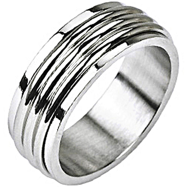 SPIKES 316L Stainless Steel Get into the Groove Spinner Ring