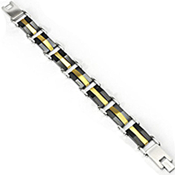 SPIKES 316L Stainless Steel IP Gold and Black Tri-Band Bracelet