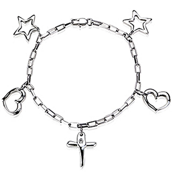 SPIKES 316L Stainless Steel Link Bracelet with Cross, Stars, and Hearts Charms