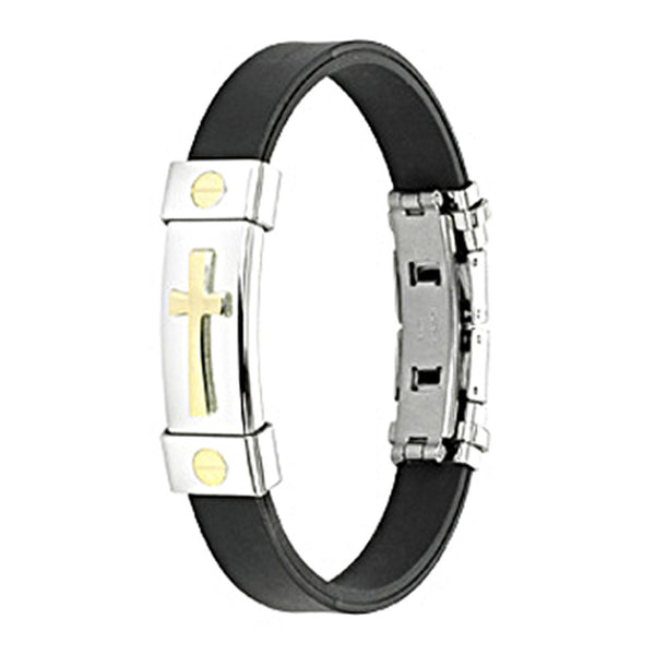 SPIKES 316L Stainless Steel Gold Plated Cross ID Plate Rubber Bracelet