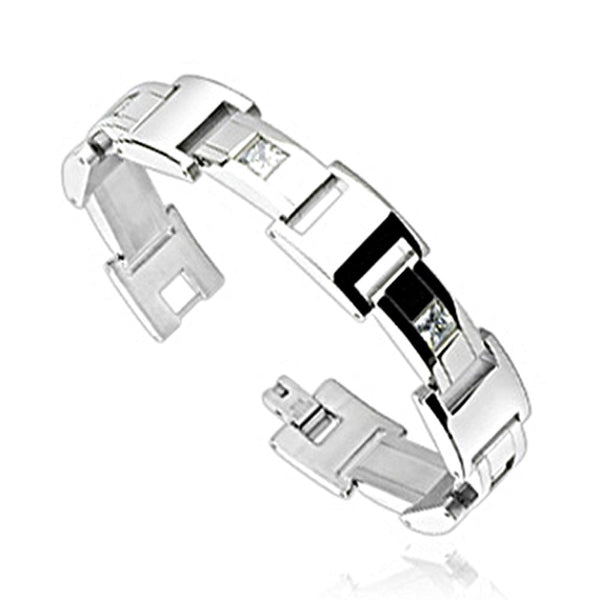 SPIKES 316L Stainless Steel Square Crystal Inlayed Link Bracelet