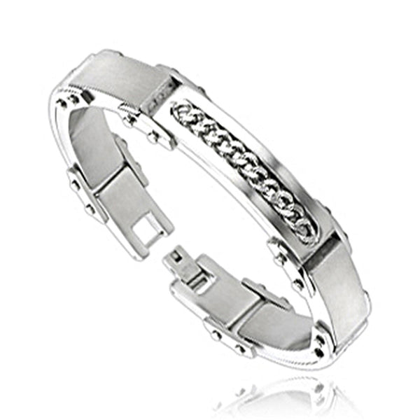 SPIKES 316L Stainless Steel Inlayed Chain Bracelet