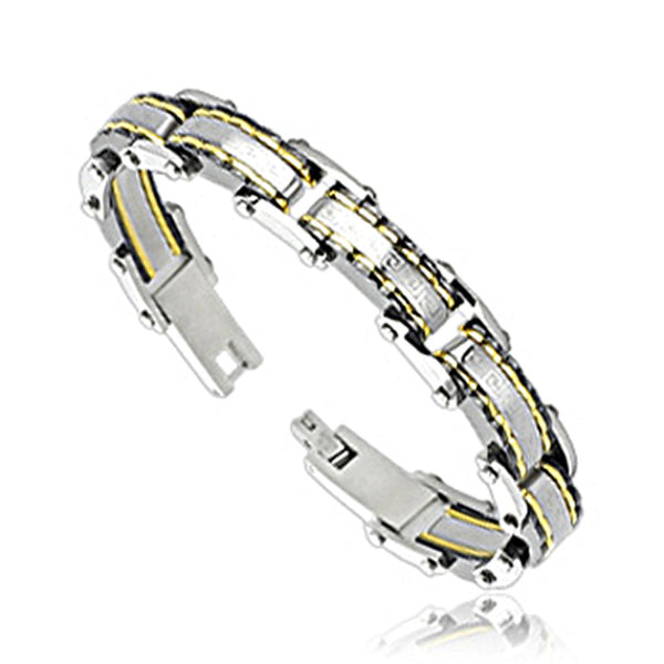 SPIKES 316L Stainless Steel IP Gold Stripe Tribal Bracelet