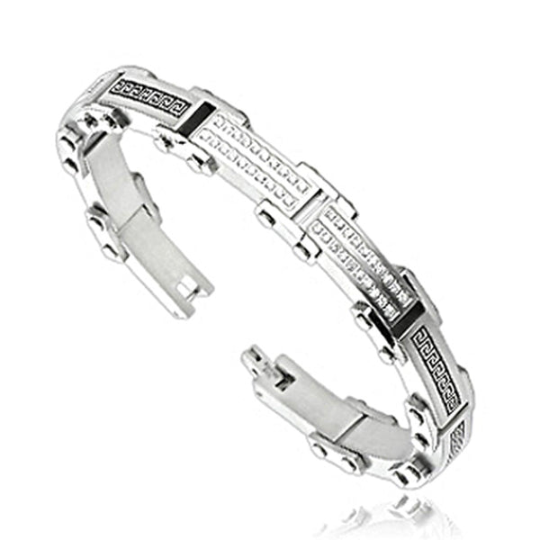 SPIKES 316L Stainless Steel CZ Tribal Link Bracelet