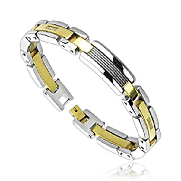 SPIKES 316L Stainless Steel Cable IP Gold Link Bracelet