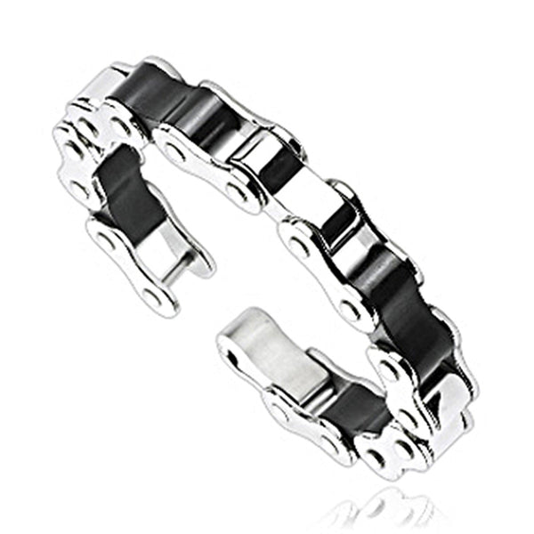 SPIKES 316L Stainless Steel Two Tone Bicycle Chain Bracelet