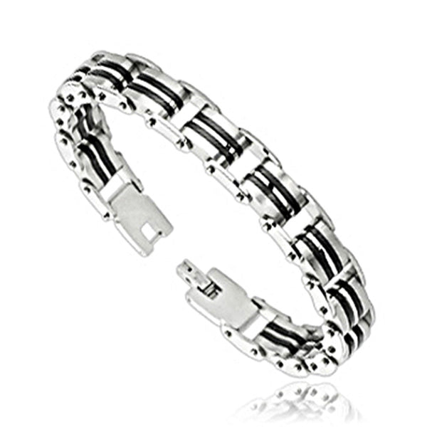SPIKES 316L Stainless Steel Double Rubber Strip Link Bracelet