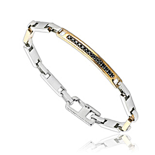 SPIKES 316L Stainless Steel IP Gold Black CZ Bracelet