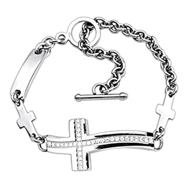 SPIKES 316L Stainless Steel Gemmed Cross Bracelet
