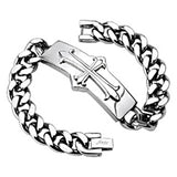 SPIKES 316L Stainless Steel Chain Bracelet with Medieval Cross Rectangle