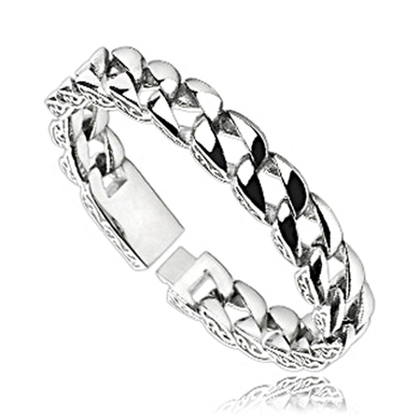 SPIKES 316L Stainless Steel Chain Bracelet with Wave Design on the Side