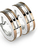 SPIKES 316L Surgical Stainless Steel 2 Tone Hoop Earrings