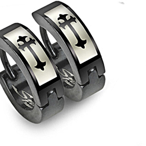 SPIKES 316L Stainless Steel Medieval Cross Black Hinged Hoop Earrings
