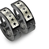 SPIKES 316L Stainless Steel 5 Star Black Hinged Hoop Earrings