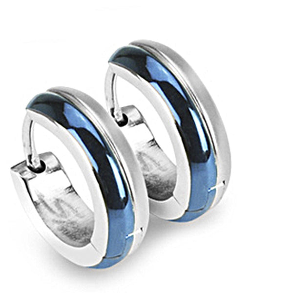 SPIKES 316L Surgical Stainless Steel Blue IP 2 Tone Hoop Earrings