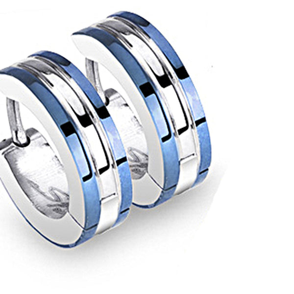 SPIKES 316L Surgical Stainless Steel 2 Tone Hoop Earring with Blue IP Edges