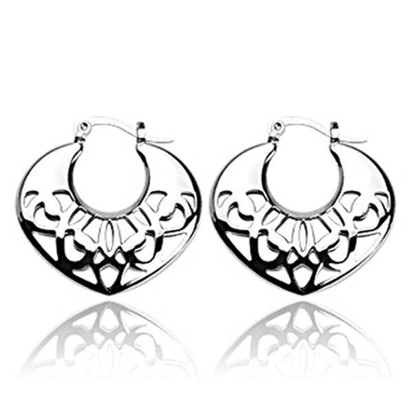SPIKES 316L Stainless Steel Crescent Moon Filigree Heart Click-Top Earrings