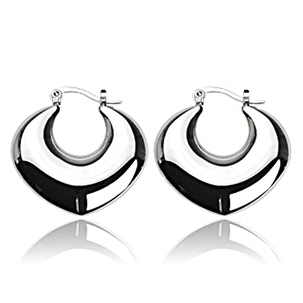 SPIKES 316L Stainless Steel Crescent Moon Heart Click-Top Earrings