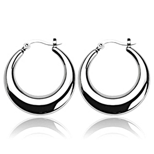 SPIKES 316L Stainless Steel Crescent Moon Round Click-Top Earrings