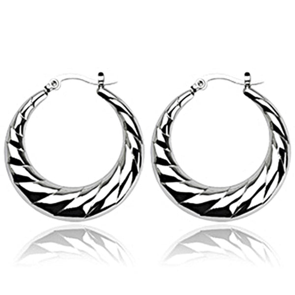 SPIKES 316L Stainless Steel Crescent Moon Layered Design Click-Top Earrings