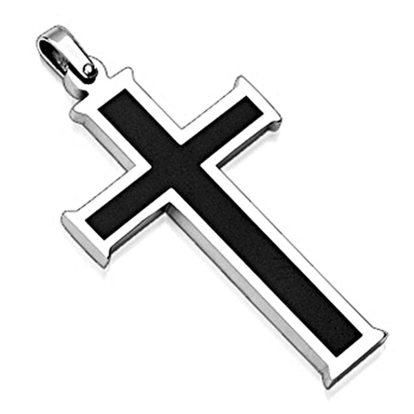 SPIKES 316L Stainless Steel Pendant. Black Cross