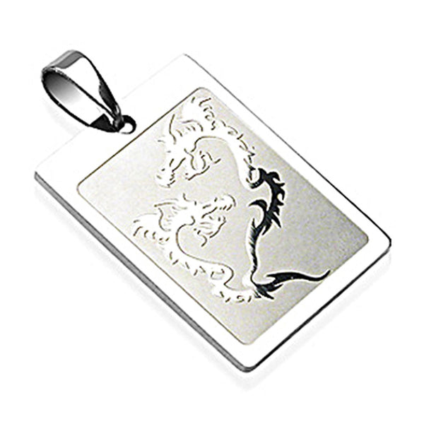 SPIKES 316L Surgical Steel Double Dragon Engraved Square Pendant