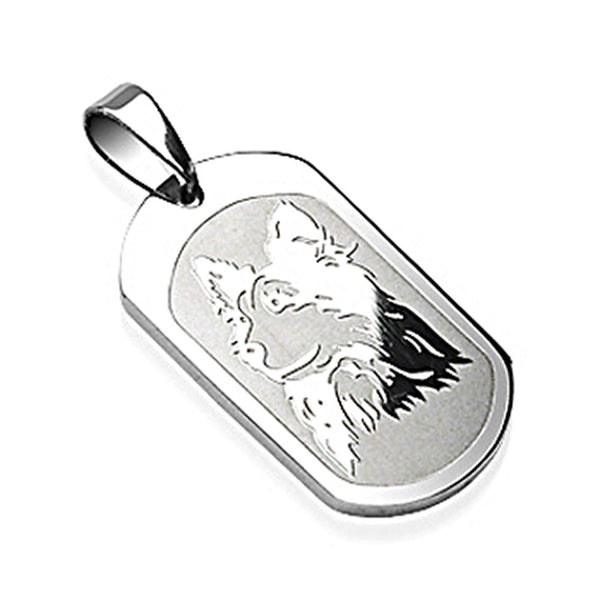 SPIKES 316L Surgical Steel Dog Engraved Pendant