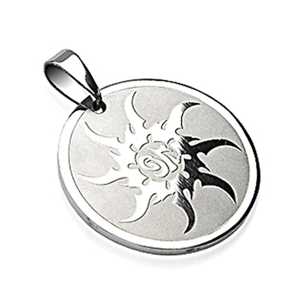 SPIKES 316L Surgical Steel Sunburst Engraved Round Pendant