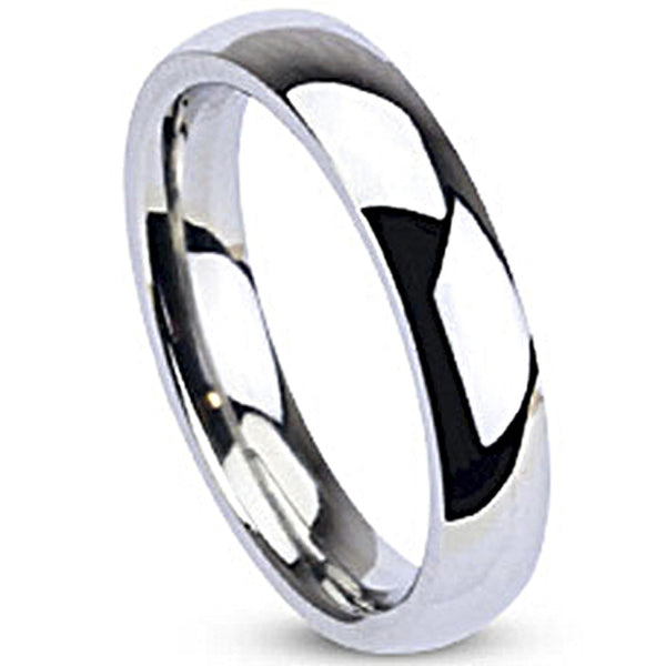 Spikes Womens Stainless Steel 4mm Traditional Wedding Band Ring