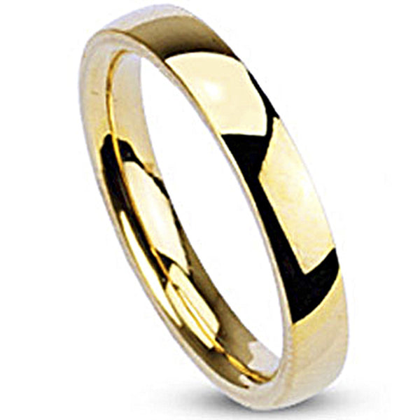 Spikes Womens Gold IP Stainless Steel 3mm Traditional Wedding Band Ring