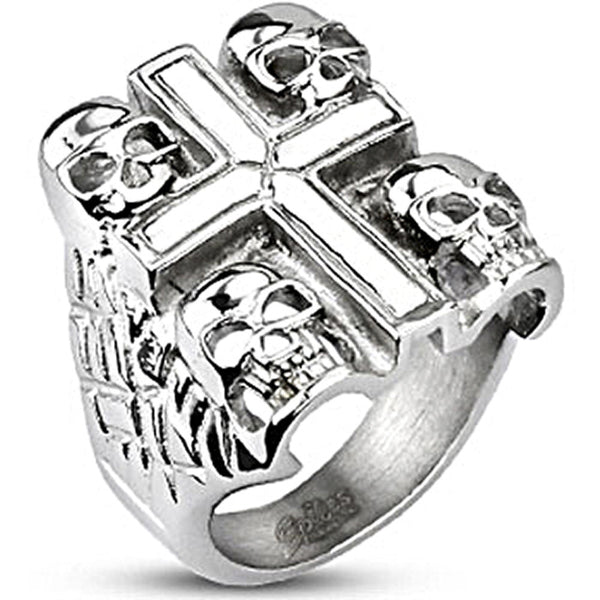 Spikes Mens Stainless Steel 24mm Death Skull Bikers Ring